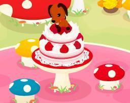 ケーキの天辺を穴掘りするロンのアップJPEG.JPG